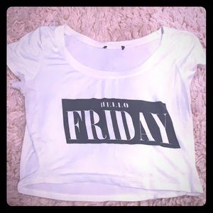 """hello friday"" white crop top"